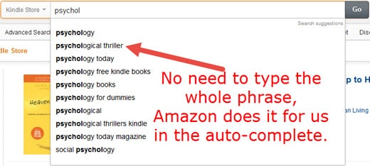 Amazon Kindle Keywords Research Auto-Complete Method