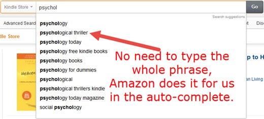Amazon Kindle Keyword Research Auto-Complete Method